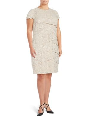 Overlapping Lace Sheath Dress by London Times