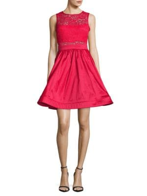 Lace-Trimmed Fit-and-Flare Dress by Betsy & Adam
