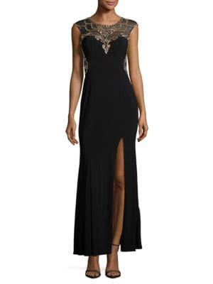 Cap-Sleeve Embellished Column Gown by Betsy & Adam