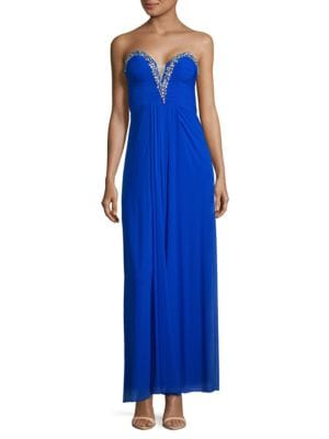 Plus Sweetheart Embellished Gown by Betsy & Adam