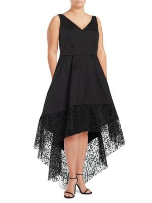 Lace Hi-Lo Taffeta Fit-and-Flare Gown by Betsy & Adam