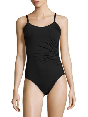 Side Ruched One-Piece Swimsuit by Calvin Klein