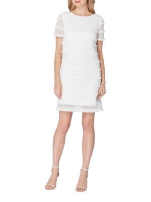 Fringe Embroidered Shift Dress by Tahari Arthur S. Levine