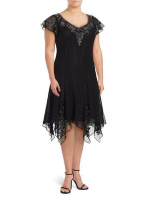 V-Neck Flutter-Sleeve Embellished Dress by J Kara