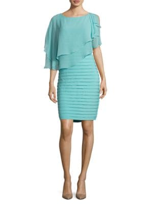 Chiffon-Overlay Sheath Dress by Adrianna Papell