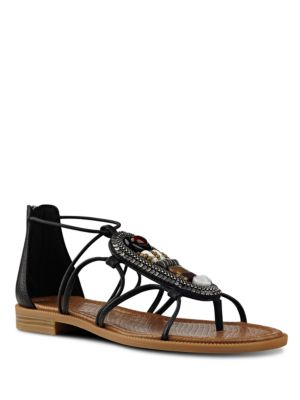 Grinning Embellished Leather Sandals by Nine West