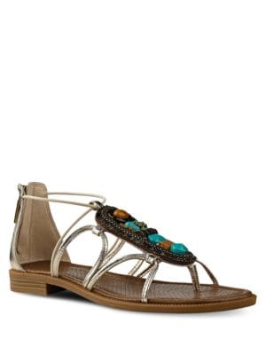 Grinning Stone Embellished Leather Sandals by Nine West