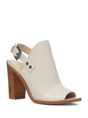 Buy Pickens Leather Peep-Toe Mules by Nine West online