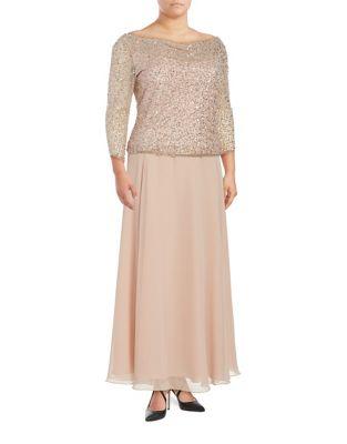 Boatneck Embellished Dress by J Kara