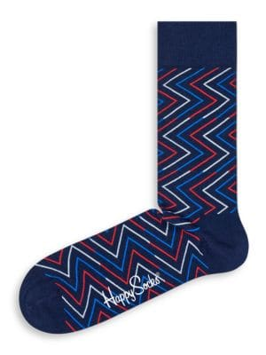Zig-Zag Print Crew Socks by Happy Socks
