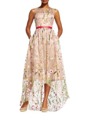 Floral Embellished Tulle Hi-Lo Gown by Adrianna Papell
