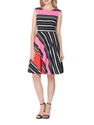 Crepe Striped A-Line Dress by Tahari Arthur S. Levine