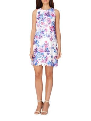 Floral Printed Lace Trapeze Dress by Tahari Arthur S. Levine