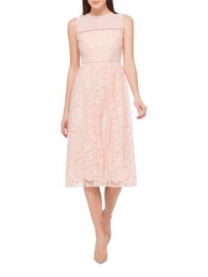 Collared Midi Lace Dress by Jessica Simpson