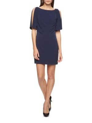 Ruched Split-Sleeve Shift Dress by Jessica Simpson