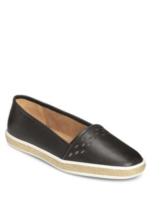 Fun Times Leather Slip-On Espadrilles by Aerosoles