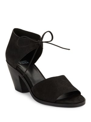 Ann Stacked Heel Nubuck Sandals by Eileen Fisher
