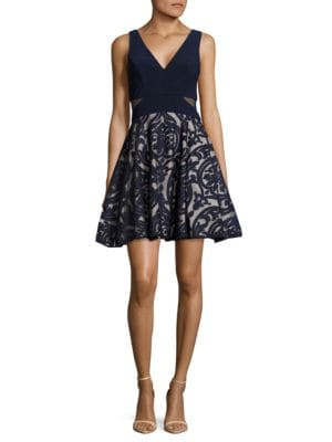 Damask-Applique Fit-and-Flare Dress by Xscape
