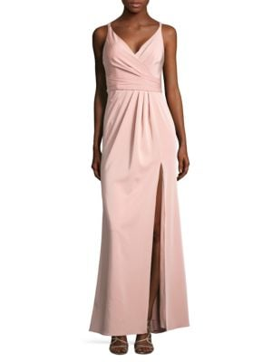 Slit Wrap Front Gown by Xscape