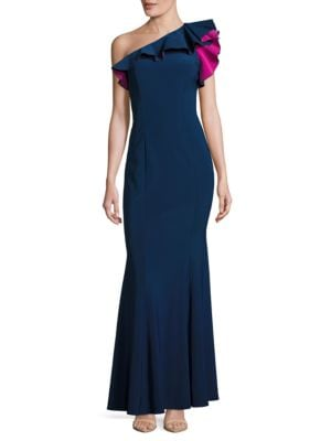 Ruffled One-Shoulder Mermaid Gown by Xscape