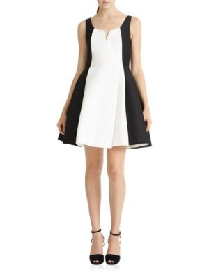 Silk Faille Colorblock Dress by Halston Heritage