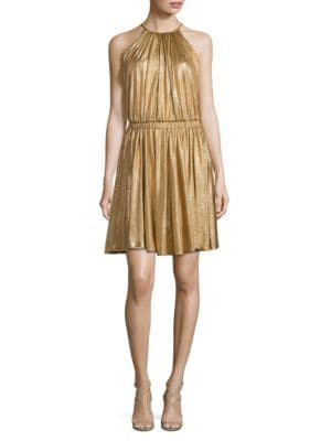 Metallic Blouson Dress by Halston Heritage