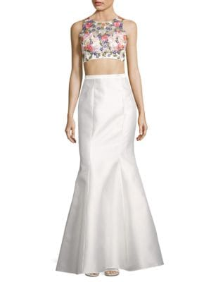 Two-Piece Floral Beaded Crop Top and Mermaid Skirt Set by Xscape