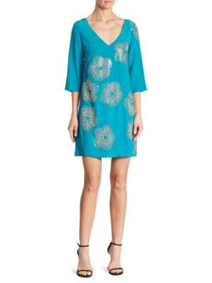 Glitterati Embellished Silk Shift Dress by Trina Turk