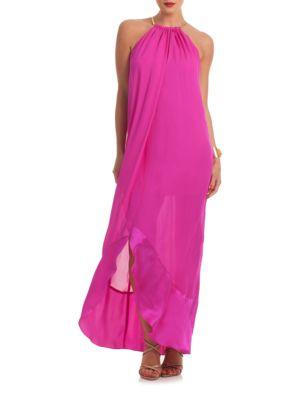Haute Havana Poinciana Halter Silk Gown by Trina Turk