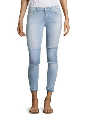 Suzzi Patched Raw-Edge Super Skinny Ankle Jeans by Hudson Jeans