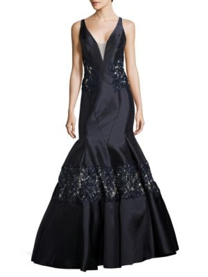 Lace-Accented Trumpet Gown by Mac Duggal