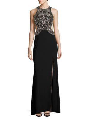 Sleeveless Embelished Cutout Column Gown by Xscape