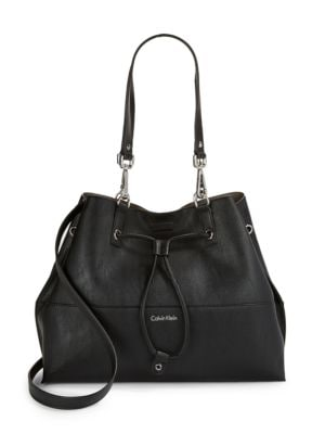 Faux Leather Drawstring Tote 500034683946