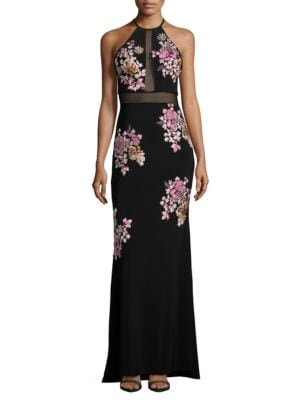 Rhinestone Embroidered Column Gown by Xscape