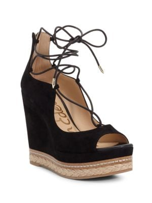 Harriet Peep-Toe Lace-Up Wedge Sandals by Sam Edelman