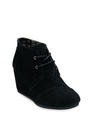 One For One Desert Wedge Lace-Up Suede Booties by TOMS