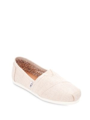 Buy One For One Seasonal Classic Metallic Burlap Slip-Ons by TOMS online