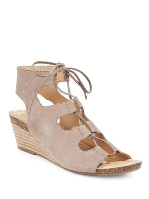 Tami Leather Wedge Ghillie Sandals by Me Too