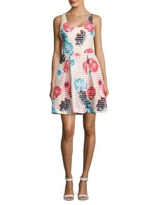 Floral Fit-and-Flare Dress by Guess