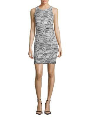 Geometric Ribbed Bodycon Dress by Guess
