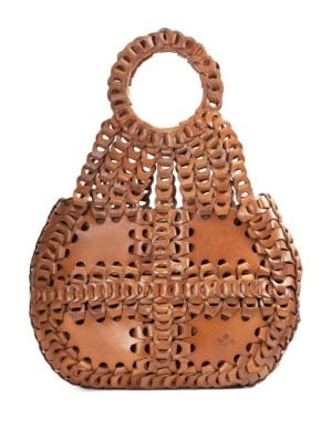 Leather Chainlink Pisticci Shoulder Bag by Patricia Nash