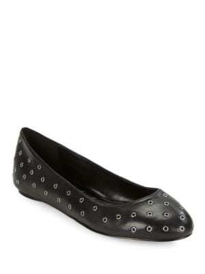 Buy Lacina Grommeted Leather Ballet Flats by Karl Lagerfeld Paris online
