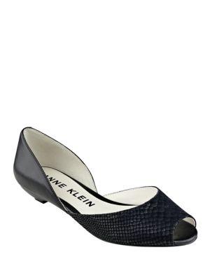 Fanetta Leather Peep Toe Flats by Anne Klein
