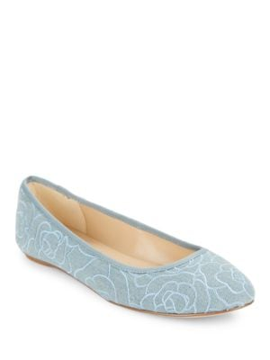 Leroux7 Floral-Embroidered Denim Flats by Karl Lagerfeld Paris