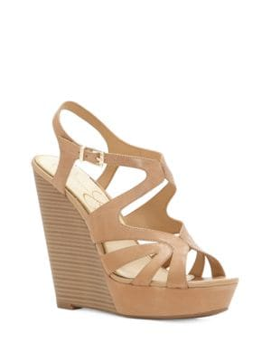 Brissah Caged Leather Wedge Platform Sandals by Jessica Simpson