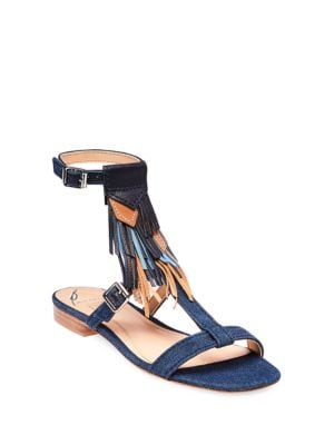 Megan Denim Open-Back Sandals by B Brian Atwood