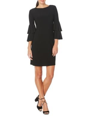 Photo of Laundry by Shelli Segal Solid Poet-Sleeve Dress