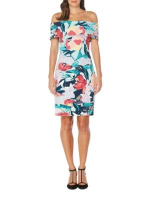 Abstract-Print Off-The-Shoulder Dress by Laundry by Shelli Segal