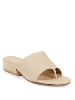 Beal Tumbled Leather Slide Sandals by Eileen Fisher