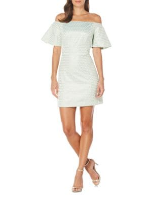 Dot-Motif Off-The-Shoulder Sheath Dress by Laundry by Shelli Segal